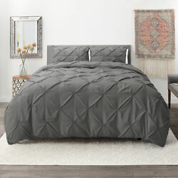 Pinch Pleated Duvet Cover Set Luxurious Premium Quality Cover for Comforter $29.99