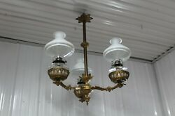 ANTIQUE CAST IRON 3 ARMS OIL LAMP CHANDELIER BRADLEY & HUBBARD ERA GLASS SHADE