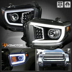 Black For 2014 2021 Toyota Tundra LED Strip Bar Tube Projector Headlights Lamps