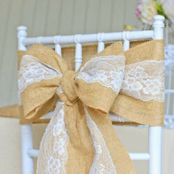 5 30Pc Burlap Lace Chair Sashes Hessian Jute Chair Cover Bows Rustic for Wedding $12.97