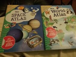 my world atlas and space atlas kids book lot $8.80