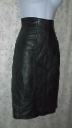 Vintage Michael Hoban North Beach Leather Hi-Waist Black Pencil Skirt XS So Sexy $59.99