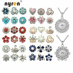 6pcs Rhinestone Snap Button 18mm With Snap Pendant Necklace Multi Combination $4.99