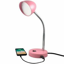 MaxLite LED Desk Lamp with USB Charging Port Adjustable Neck On Off Switch $21.98