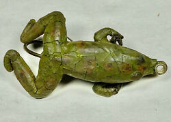 Early Antique Frog Fishing Lure Weedless Green Frog Unmarked Rare Vintage Frog $400.00