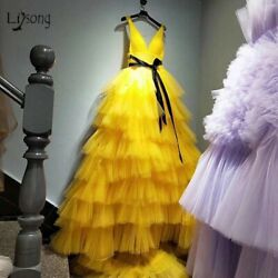 Yellow Evening Prom Dresses Ruffle Tiered Tulle Plus Party Robe Gowns Sleeveless $112.79