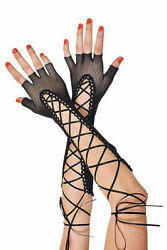 Sexy Fishnet Lace Up Fingerless Gloves $7.99