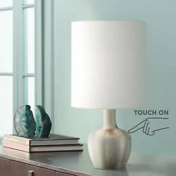 Modern Table Lamp Brushed Steel Touch On White Drum Shade for Living Room Desk $29.99