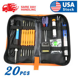 Electric Soldering Iron Gun Tool Kit 110V 60W Control ℃ Welding Station Tip Case $19.98