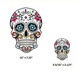 SUGAR SKULL 10quot; or 3 3 16quot; Pocket sized iron on heat transfer Day of the Dead $3.99