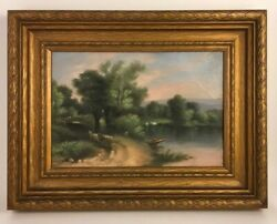 Antique Oil On Art Board Great Frame Free Shipping $189.00