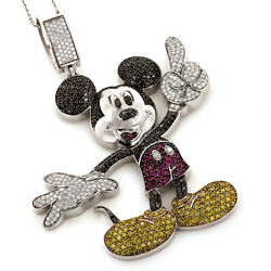 4.08CT NATURAL DIAMOND GEMSTONES 14K SOLID WHITE GOLD MICKEY MOUSE KIDS PENDANT