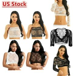 Women Ladies Sexy Lace Long Sleeves Crop Tank Tops Mesh See Through Blouse Shirt $4.85