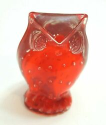 VINTAGE MID CENTURY STYLE RED AND CLEAR LUCITE OWL FIGURINE 3 1 2quot; TALL $14.99
