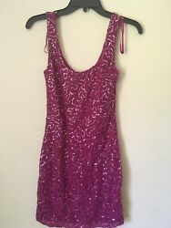 Sale PINK MAGENTA shiny HOLIDAY PARTY JUNIORS DRESS. Size S. $19.99