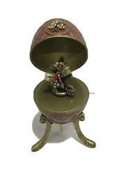 Victorian Floral Bling Brass Egg On Pedestal Music Box Inside Rotating Butterfly $39.99