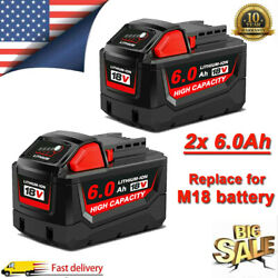 2PACK For Milwaukee M18 Lithium XC 6.0AH Extended Capacity Battery 48 11 1860 US $47.39