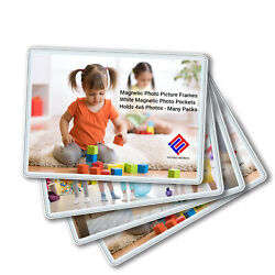 Magnetic Photo Picture Frames - White Magnetic Photo Pockets - Holds 4x6 Photos $6.99