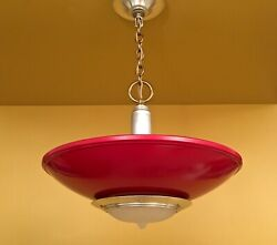 Vintage Lighting red 1940s kitchen chandelier. FOUR MORE available $580.00