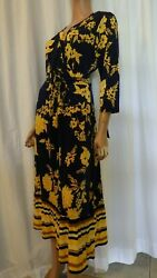 NWT MLLE GABRIELLE PLUS 2X NAVY & YELLOW FLORAL STRETCH MAXI DRESS BUST 46 $21.00