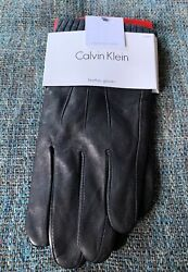Nwt Calvin Klein Leather Touchscreen Gloves Mens Size Large Soft Black BB6 $28.31