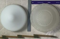VINTAGE Fixture RETRO Milk amp; Frosted GLASS CEILING LAMP Fixture Globe lot of 3 $69.99