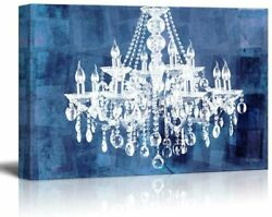 wall26 Canvas Wll Art Crystal White Chandelier on Grunge Blue Background $32.99