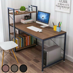 Wooden Corner Computer Desk Home Office PC Laptop Table H Shaped + 4 Shelves $127.99