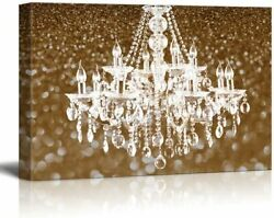 wall26 Canvas Wll Art White Crystal Chandelier on Glittering Golden Background $43.99