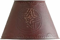 Punched Metal Farmhouse Primitive Rustic Metal Lamp Shade 10quot; Red Barn Star $29.95