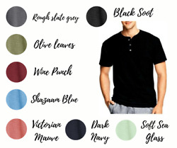 Hanes T-shirts Men's 1901 Heritage Dyed Short Sleeve Henley Tee $7.00