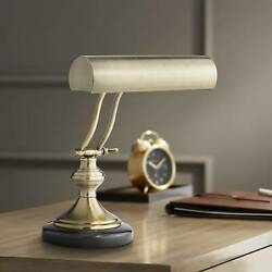 Piano Banker Desk Lamp Marble Base Antique Brass Shade for Office Table $89.99