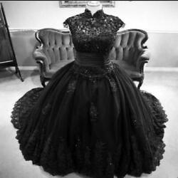 Vintage Black Gothic Wedding Dresses Princess High Neck Beaded Lace Country