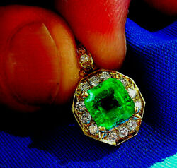 Deco Designer real Diamond and Colombian Emerald Vintage Pendant Charm Necklace