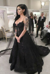 Detachable Black Lace Gothic Wedding Dresses Bridal Gowns Mermaid Sweetheart New