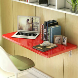 Red Wall Mount Floating Folding Computer Desk Home Office Laptop Table 60cmx40cm $66.11