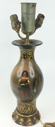 Antique Lamp Light Beautiful Scenery amp; Woman Bowl Lamb Italian Gold florentine $199.99