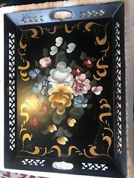 """Vintage Tole Tray Large 16"""" X 21 1 2"""" Hand Painted Floral Motif. $24.00"""