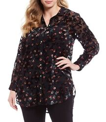Intro Ditsy Floral Velvet Burnout Button Down Long Sleeve Tunic Top Sz 3X NWT $11.24