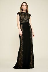 NEW Tadashi Shoji Alexandra Embroidered Lace Gown in Black - Size 2P #D2972