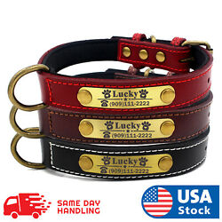 Custom Dog collar leather personalized Brass Name Plate  small medium large dog $9.98