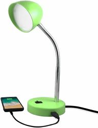 MaxLite LED Green Desk Lamp with USB Charging Port Adjustable Neck On Off Switch $21.98