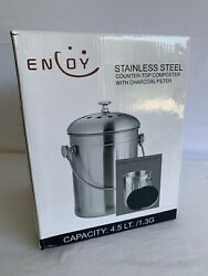 ENLOY Compost Bin Stainless Steel Indoor Compost Bucket for Kitchen Countertop $39.99