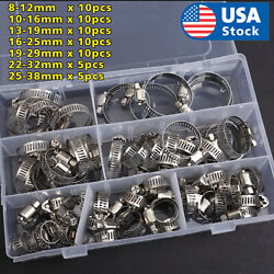 60 Pieces Adjustable Hose Clamps Worm Gear Stainless Steel Clamp Assortment $14.98