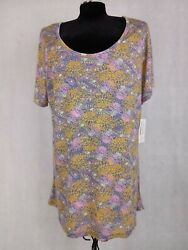 Lularoe women blouse 2XL Paisley floral Multicolored Short Sleeve High low Hem $16.99