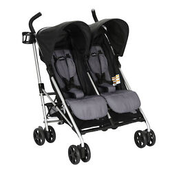 Evenflo Minno Double Seat Compact Fold Twin Baby Travel Stroller Open Box $88.99