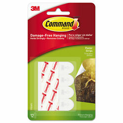 Command Poster Hanging Strips 12 Strips White 5 8quot; x 1 3 4quot; Holds Strongly $7.99