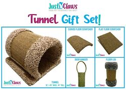 Just B'Claws Gift Set: Cat Carpet TunnelSisal LogFloor amp; Hanging Scratch Pads $74.99