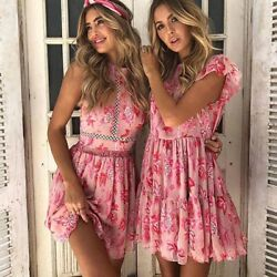 Designer Dress Floral Print Summer Sexy Pink Cocktail Party Cute Girly New S M