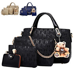 4pcs set Women Ladies Leather Handbag Shoulder Tote Purse Satchel Messenger Bag $17.89